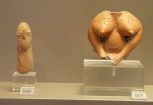 Neolithic figurines from Halai, Greece (6th millennium BCE). Female bodies were often combined with phallic necks and heads. National Archaeological Museum of Athens, Greece. Photo by the author.